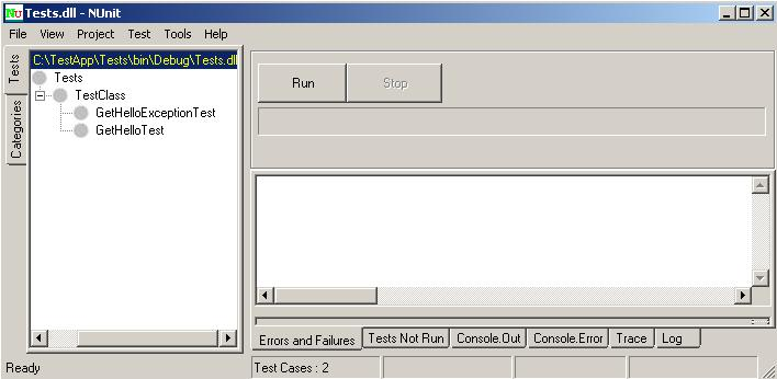 Nunit GUI, запуск тестов